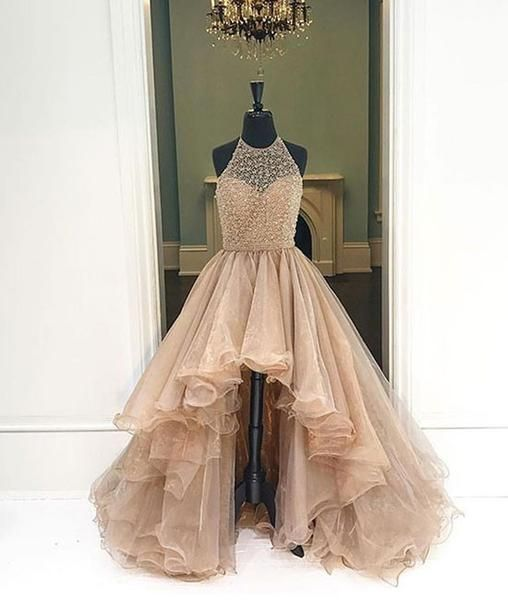 Unique round neck high-low prom dresses for teens, evening dresses, homecoming dress