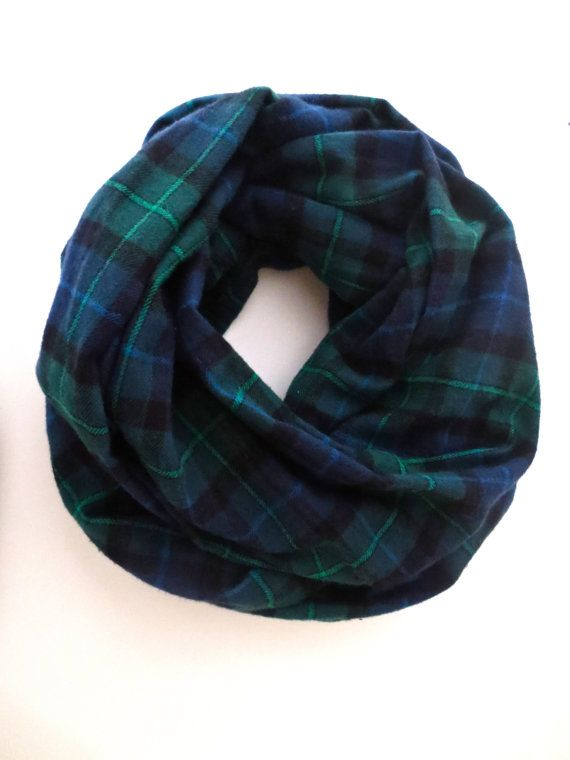 Navy and Hunter Green Plaid Infinity Scarf Flannel by dAnnonEtsy
