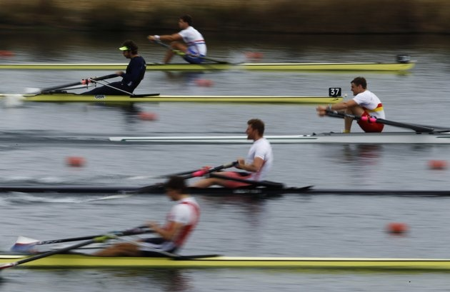 British rowers compete during the GB Rowing Team Senior Trials at the Olympic rowing venue in Eton-Dorney near London March 11, 2012.