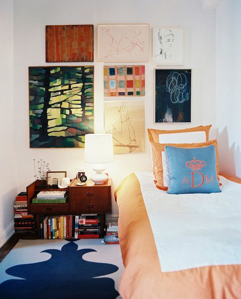 Bedroom Photo - A gallery wall of art above a twin bed with a monogrammed throw pillow