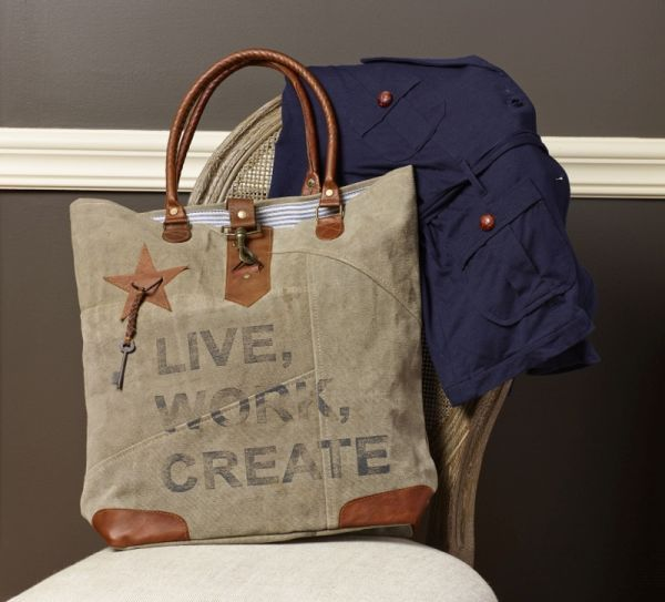 Live Work Create Tall Canvas Bag / #Vintage #Eco #Inspired #Canvas #Bag #Handbag #Purse #Upcycled #Recycled #Green #Earth #MonaB #Mona B