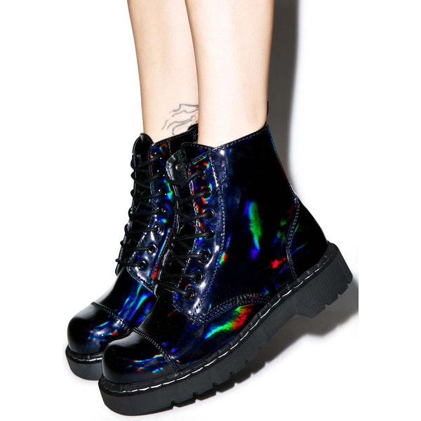 T.U.K. Dark Iridescent Anarchic 7 Eye Boots (£62) ❤ liked on Polyvore featuring shoes, boots, ankle booties, thick booties, faux leather boots, round toe booties, side zip boots and combat boots