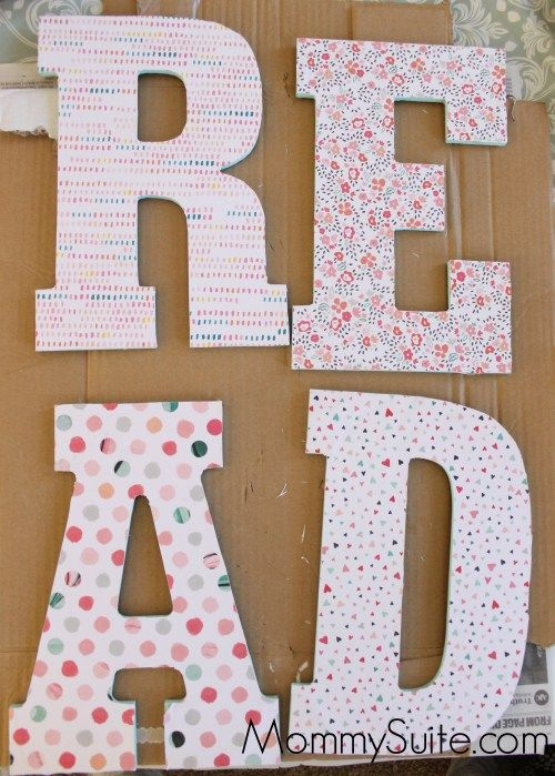 How to decoupage wooden letters the easy way. I love this method! These letters are perfect wall decor in a playroom, nursery, or child's bedroom!