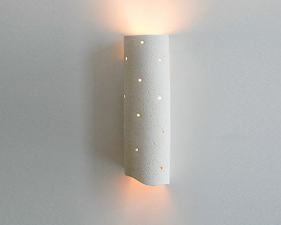 Contemporary Cylinder clay Wall Sconce, Multi Hole Wall Sconce natural clay wall lamp with a tube shape