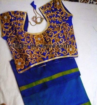 Floral Thread Work Blouse in Blue | Saree Blouse Patterns