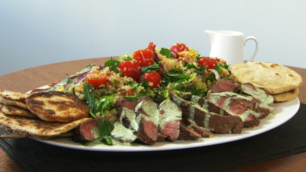 MKR4 Recipe - Lamb on Quinoa Fattoush with Flatbread...next dish we'll try