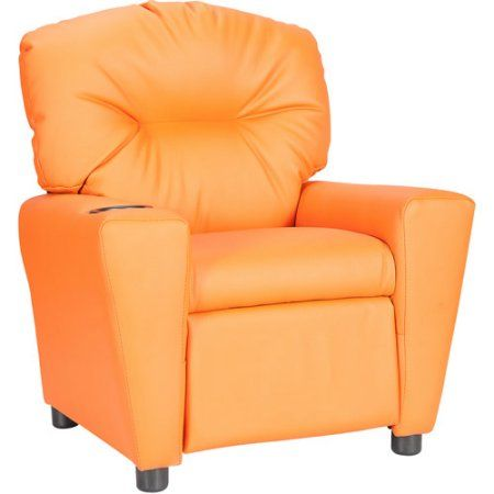 Flash Furniture Kids' Vinyl Recliner with Cup Holder, Multiple Colors, Orange