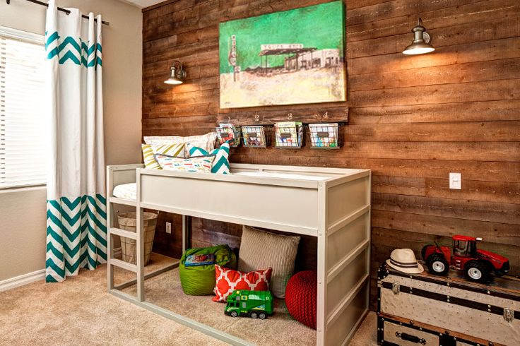 Ramsey's Big Boy Bed - #rustic #wood #accentwall: Toddlers Rooms, Big Boys, Boys Rooms, Bunk Bed, Rooms Ideas, Loft Beds, Wood Wall, Accent Wall, Kids Rooms