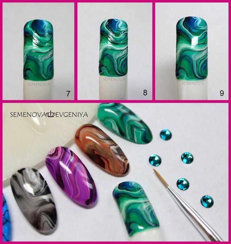Модный дизайн ногтей имитирующий натуральные камни мастер-класс пошагово фото видео | Модная мода