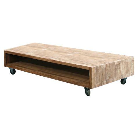 Журнальный стол из массива тика на колесах. Возможен шириной 120 и 140 см. Колеса оборудованы стопором.             Метки: Журнальный стол.              Материал: Дерево.              Бренд: Teak House.              Стили: Скандинавский и минимализм.              Цвета: Коричневый.