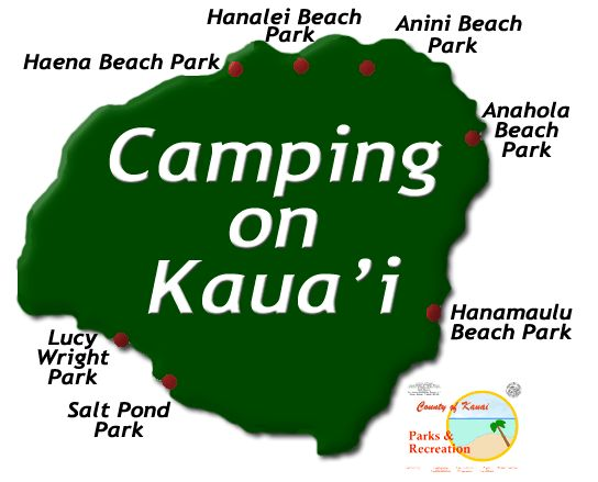 camping on kauai - map of camping locations. Our favorite and newest location- Lydgate park. For residents only $5 per night for up to 10 people!! Not per person, per campsite. BBQ grill, picnic table, steps from the beach, playground and walking path, bathrooms and showers. The county parks are much better taken care of than the state ones