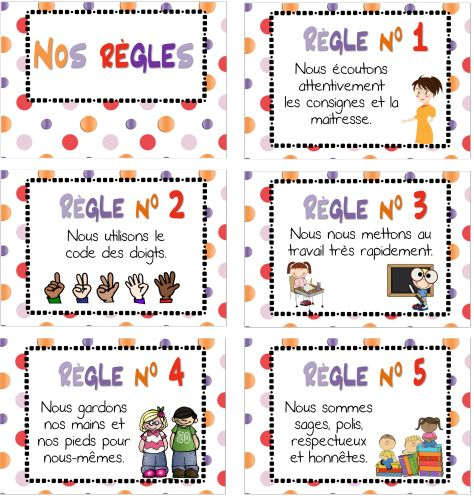 Cette année, j'ai décidé de simplifier au maximum les règles. Simples, relatives à ce qui est mis en place au quotidien dans ma classe. Plus d'excuses, elles ne sont que 5! A imprimer en 2 par page, à découper, à plastifier et à afficher! les images sont...
