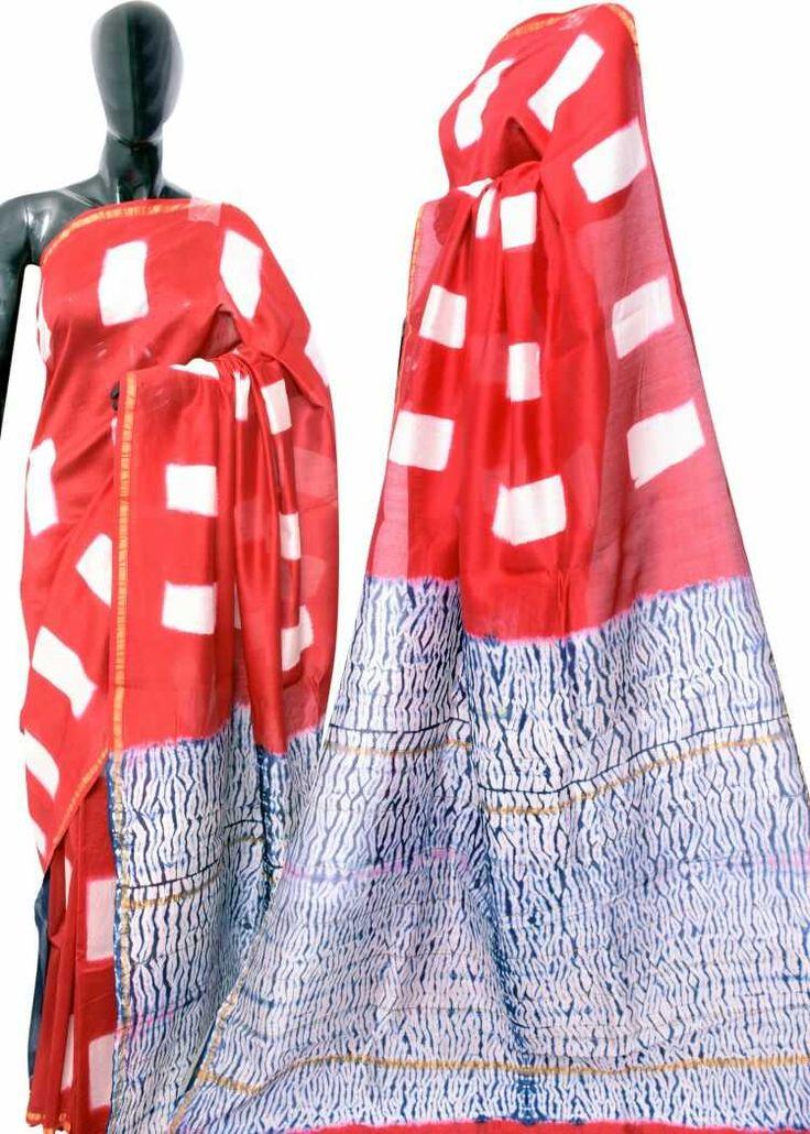 Hand block printed new silk cotton sarees