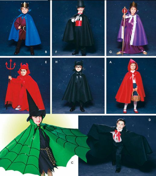 Halloween Cape Sewing Pattern ZORRO DRACULA WIZARD Costume Capes Adorable Kids Cape Pattern