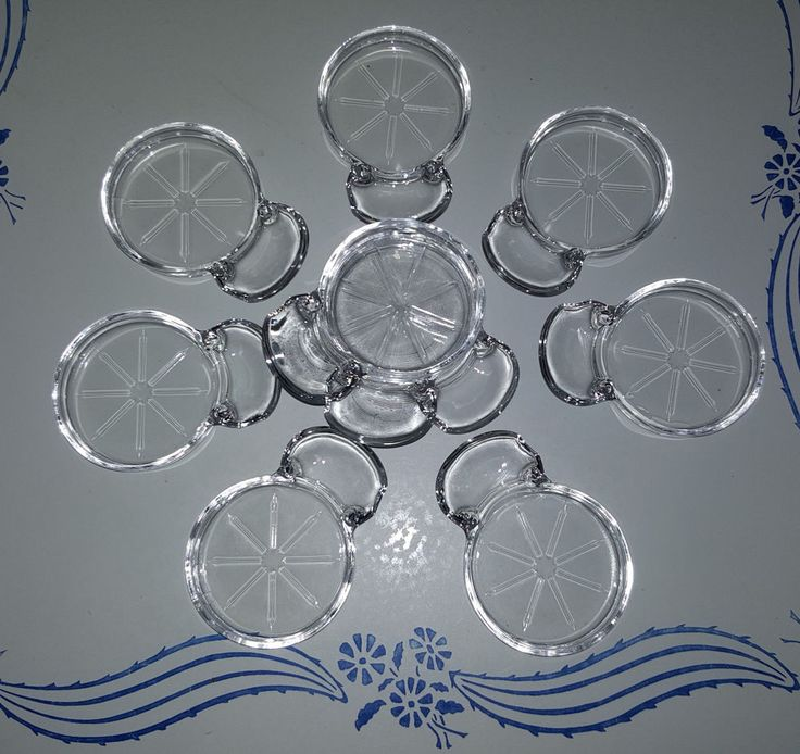 Beautiful Vintage Set of 10 Fostoria Mademoiselle Glass Coasters with Spoon Rest