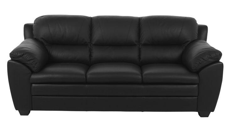 Coob+sofa+-+God+3+personers+sofa+i+sort+kunstlæder.+Sofaen+har+en+dejlig+blød+komfort+med+de+gode+puder.+Coob+sofa+vil+passe+bedst+ind+i+de+moderne+hjem.+