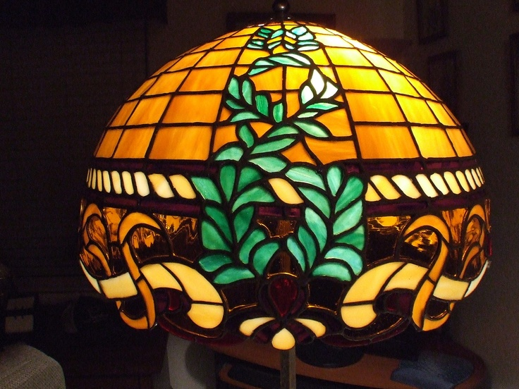 finished stained glass lamp shade made by my uncle ron