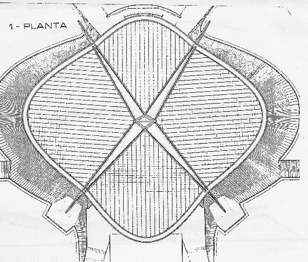 The roof plan shows the X of four compression struts, the curved perimeter edges, and the parallel loadbearing cables.