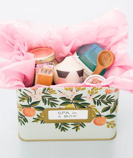 Whether you create your own facemasks, bath salts, and body scrubs, or buy them, your mom will still love the sentiment. Combine with other pampering supplies and place everything in a pretty tin box that you can find at a stationery or craft store.