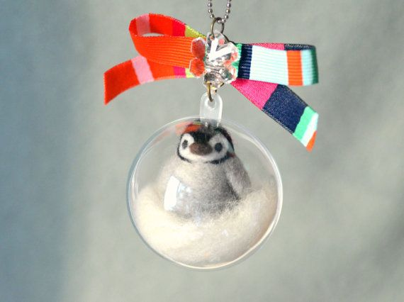 Baby penguin in bubble charm needle felted penguin by NozomiCrafts