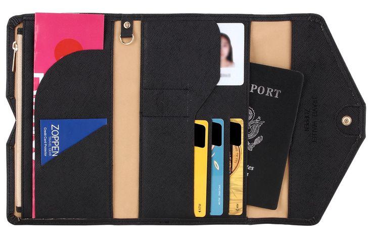 Zoppen Mulit-purpose Rfid Blocking Travel Passport Wallet (Ver.4) Trifold Document Organizer Holder, Dull Black