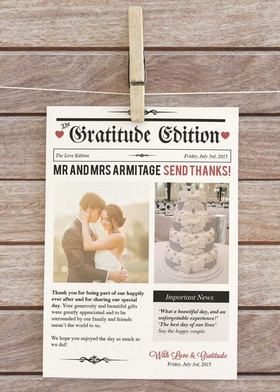 Newspaper style Wedding thank you Wedding thank by ArtisanObscure