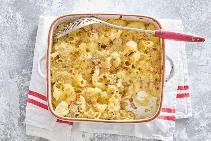 Kijk wat een lekker recept ik heb gevonden op Allerhande! Smeuïge mac & cheese met bloemkoolroosjes