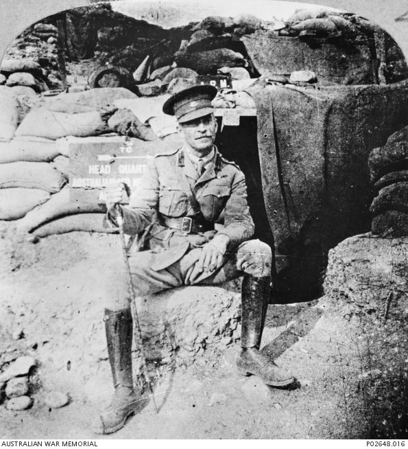 Gallipoli Peninsula. c May 1915. General Sir H. G. Chauvel sitting outside his…