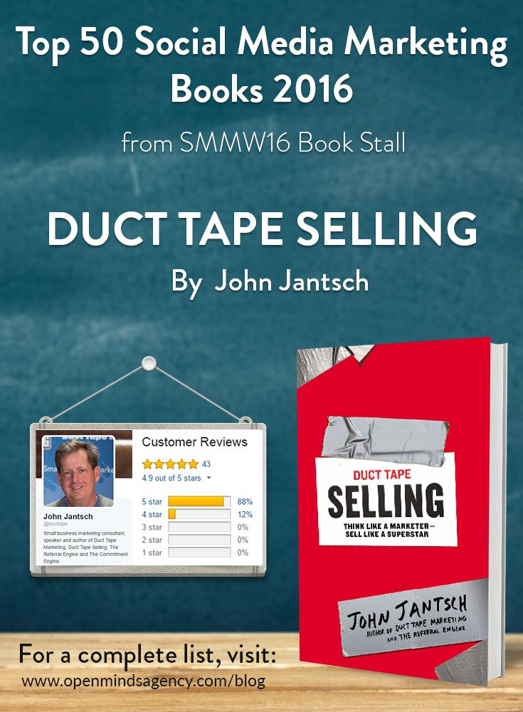 Top 50 Social Media Marketing Books 2016 - from SMMW16 Book Stall   Duct Tape Selling: John Jantsch   For a complete list, [click on image]   #omagency #smmw16 #books