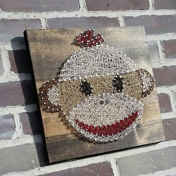 $39 Etsy String Art Sock Monkey Monkey Nursery Decor Baby Handmade by NailedItDesign.etsy.com