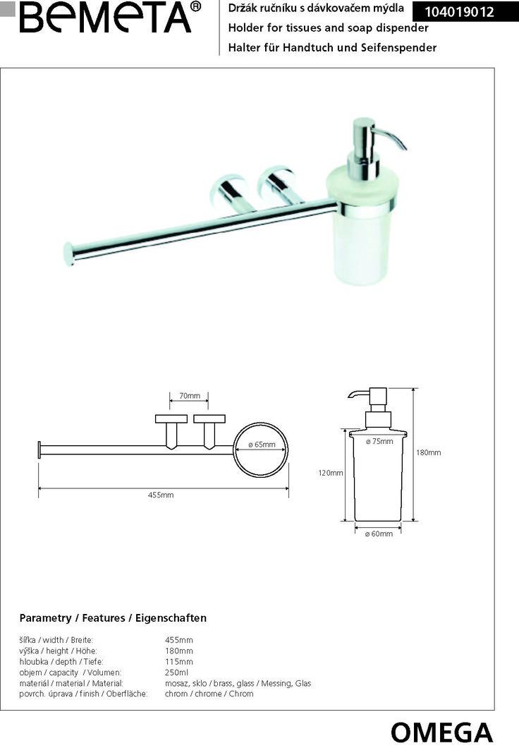 Porte-serviettes OMEGA en chrome avec distributeur de lotion en verre 45,5x18x11,5cm - MAISON DE LA TENDANCE