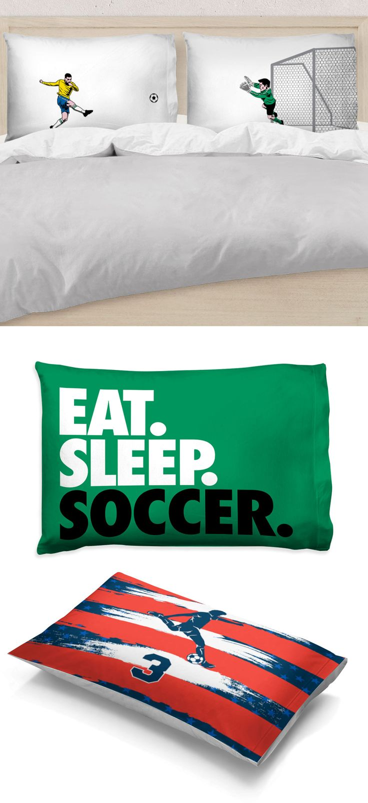 We know your favorite soccer player will love these custom and personalized pillowcases! Add soccer pride to any room with designs and colors they'll love!