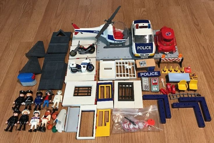 Playmobil Parts Lot Helicopter cops jail Police Car motorcycles etc. #Geobra