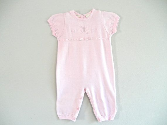 Pink Baby Suit Onesie Jumper Vintage Laura Ashley Gently Used Baby Clothes Dressy Baby Clothes Toddler Clothes Size Nine Month Baby Romper