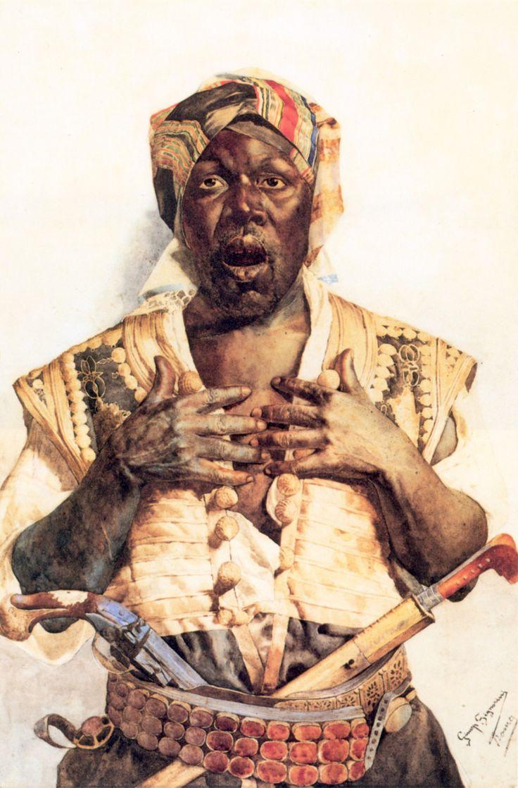 The Startled Arab, Giuseppe Signorini (1857 - 1932). Born in Rome.  An Arab man shown wearing a carnelian belt (jakicar) with pistol and yatagan.