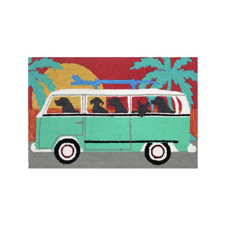 """Frontporch Indoor/Outdoor Beach Trip Turquoise Rug 30""""X48"""" Blue - Liora Manne"""
