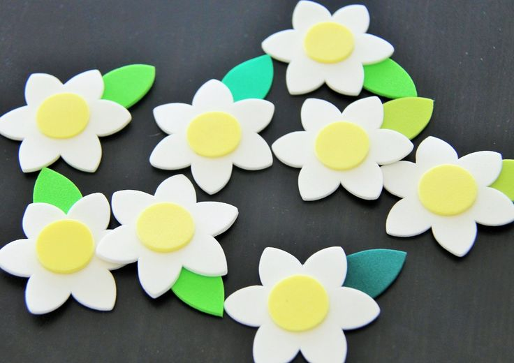 mini aplicaciones formas flores margaritas goma eva 24 uds