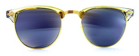 Melrose Mirrored Clubmaster Sunglasses - 220 Gold