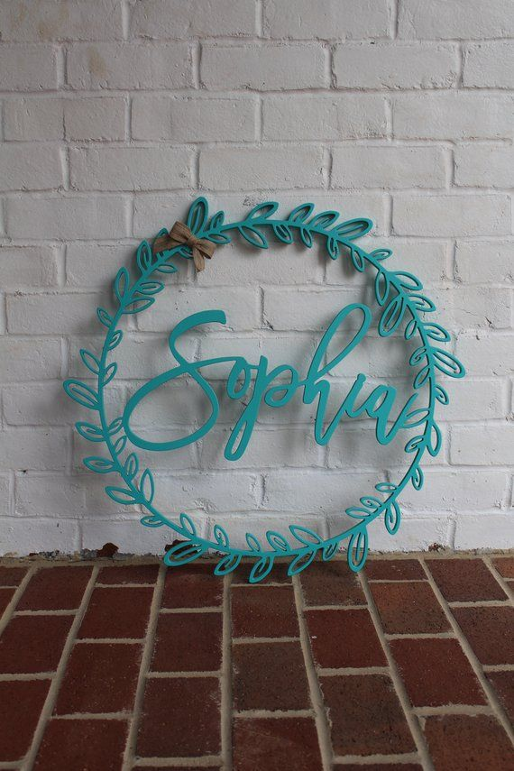 Custom Last Name Wreath 30 Name Wall Hanging Nursery Etsy Personalized Wooden Signs Wood Wreath Wall Hanging