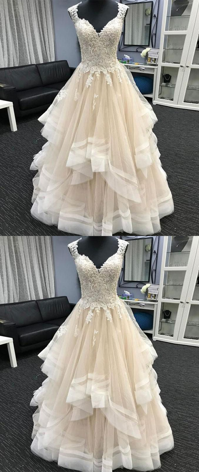Long Champagne Tulle Prom Dress #promdresses#promdresses2018#champagnepromdresses#sweetheart#eveningdresses#lacepromdresses