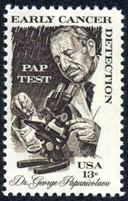 """Dr.George Papanicolaou, (1883 –  1962) was a Greek pioneer in cytopathology and early cancer detection, and inventor of the """"Pap smear"""". (Pap test) Early Cancer Detection. USA stamp"""
