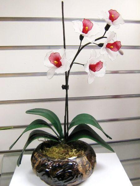 Nylon flower Orchid Arrangement  Pot included via Etsy