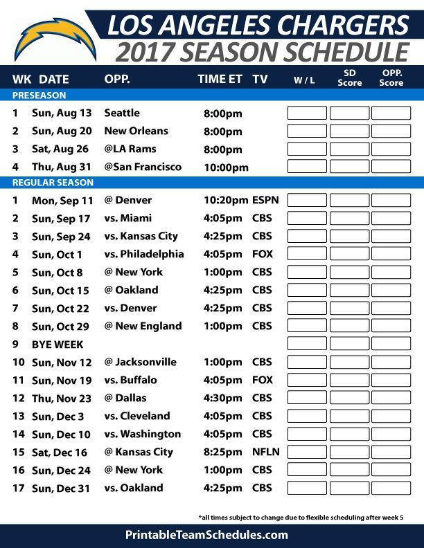 Los Angeles Chargers Football Schedule 2017