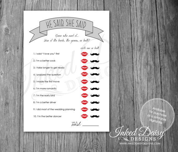 INSTANT DOWNLOAD Bridal Shower Game He Said by InkedDaisyDesigns