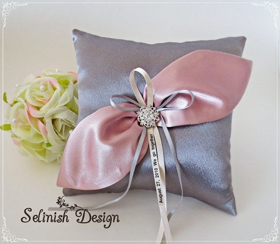 Personalized Ring Pillow Grey & Pink Satin Ring by Selinishdesign, $35.75