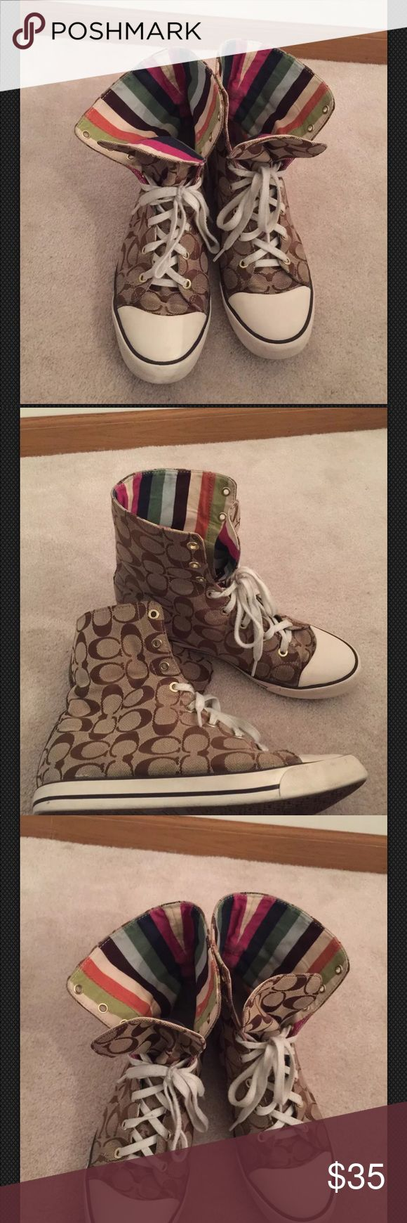Booney Coach Sneakers Gently used booney high top coach sneakers Coach Shoes Sneakers