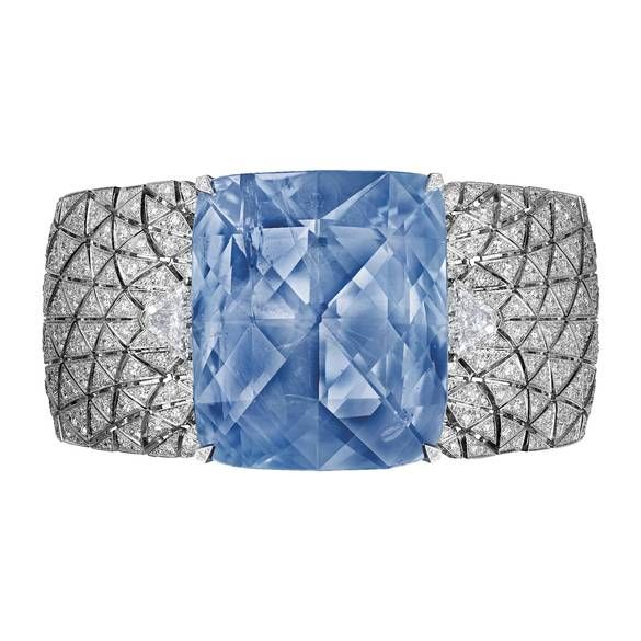 Cartier's Romanov bracelet, a cuff with a 197.80-carat cushion-shaped Ceylon sapphire once worn by the Tsarina Maria Feodorovna, who went on to become the Empress of Russia: