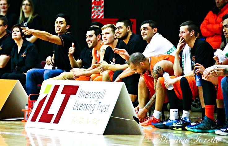 A happy bench at the game against Manawatu Jets at Stadium Southland.  June 07, 2014.   Sharks won 91-83.