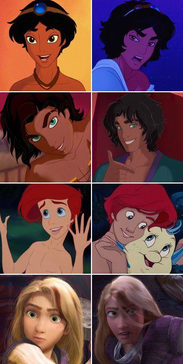 Disney Gender Bender (Aladdin, Esmerelda, Ariel, rapunzel)<<<i'm here for esmeralda's gender swap