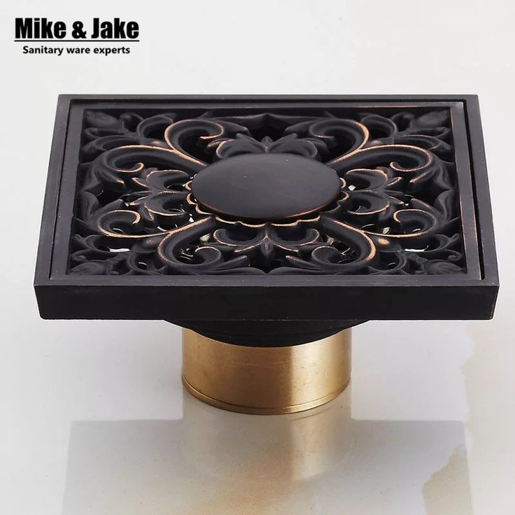 10*10cm Vintage Artistic black Brass Bathroom Square Shower Floor Drain Trap Waste Grate With Hair Strainer anti smelly drains #Affiliate
